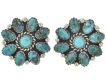 Navajo Turquoise Cluster Post Earrings Old Pawn Silver Design