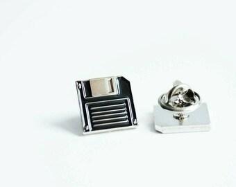 Floppy disk enamel pin - floppy disk lapel pin