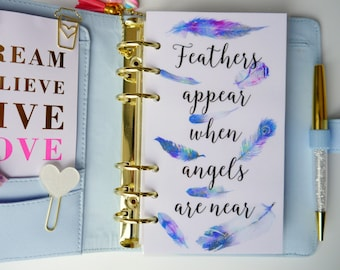 Feathers Personal, A5, A6, B6 & Pocket Size Planner Dashboards