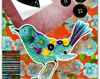 Blue Bird original greeting card handmade 15cm x 21cm