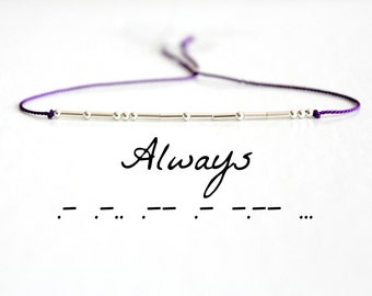 Valentines Day Gift Always Morse Code Bracelet Love Best Friend Motivational Jewelry Silk Cord Sterling Silver Skinny Beaded Bracelet