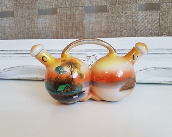 Vintage Noritake Oil and Vinegar Cruet with Stoppers, Tree in the Meadow, Lake Scene