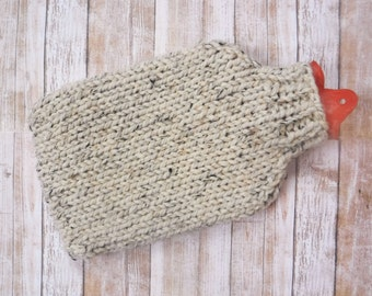 Hand Knit Hot Water Bottle Cover - Wool Blend Chunky Sleeve Sweater Hottie Cozy