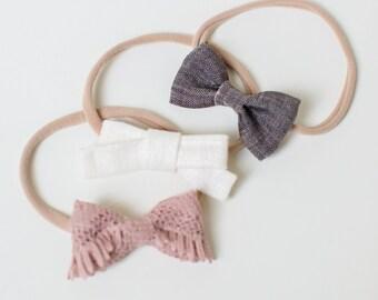 Headband Set- The Fawn Set   Grey Linen, Cream Linen and Textured Blush Dainty Bows