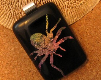Dichroic Spider Fused Glass Pendant Halloween Jewelry Dichroic Jewelry Spider Jewelry Fused Glass Jewelry Etched Pendant