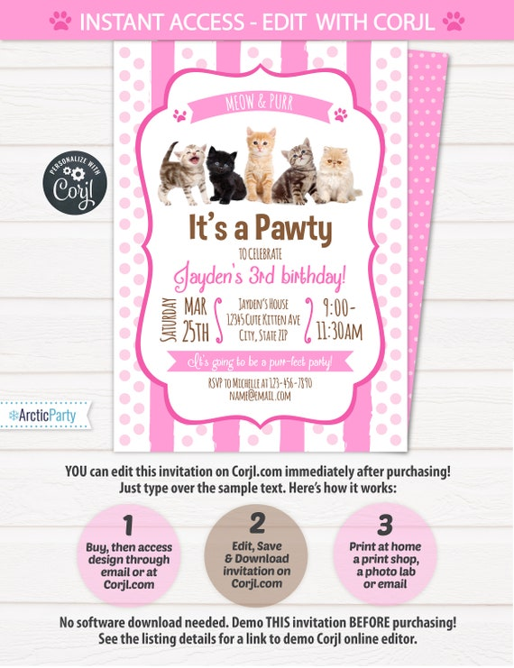 Cat party invitations kitten party invitations cat cat party invitations kitten party invitations cat birthday party invitations kitten birthday instant access edit now with corjl filmwisefo Image collections