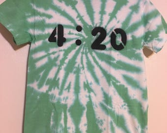 Hand dyed and hand painted unique tie-dye '4:20' T-shirt