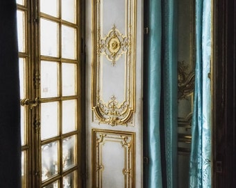 Window Photograph, Still Life Photo, Gold and Teal Decor, Robins Egg Blue, Versailles Photo, Paris Home Decor, Architecture Art, Room Decor