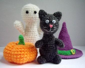 Halloween Amigurumi Crochet Pattern : Crochet halloween patterns set of 5 ghost witch vampire cat
