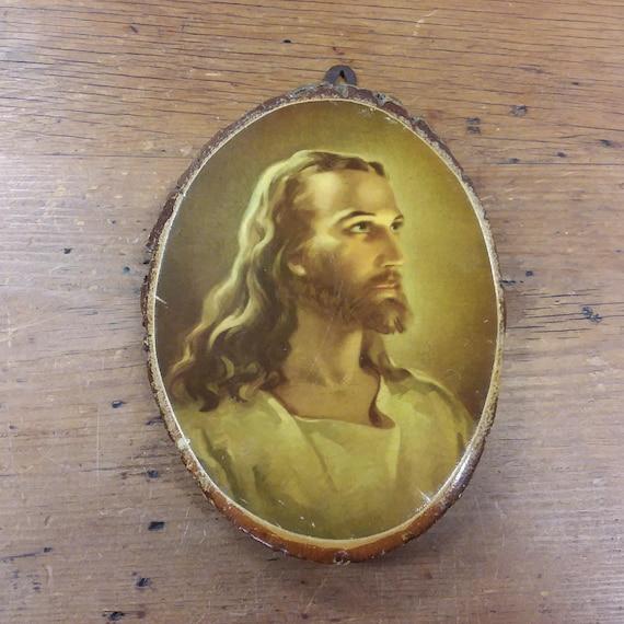 Jesus Lacquered Decoupage Cameo Print on Wood Slice Slab