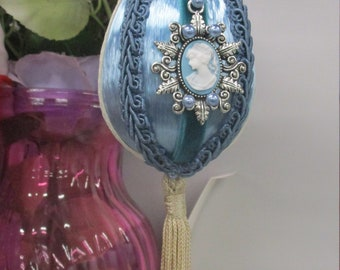 Blue Victorian CAMEO EGG ORNAMENT with Tassel