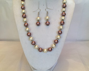 Sparkling Champagne Mauve Pearl Jewelry Set/Necklace and Earrings/Beaded Set