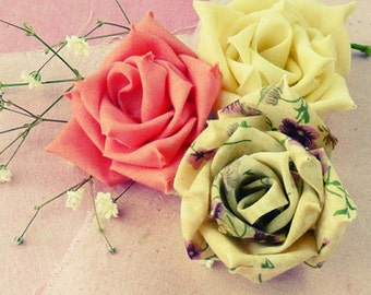 fabric flowers tutorial & ribbon flower tutorial - True Love Rose - N0 Sew at all - INSTANT Download