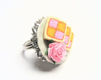 Food Jewelry Battenberg Slice ring, Cake Ring, Battenberg Ring, Miniature Food, cake jewelry Mini Food. food jewellery, gift for baker