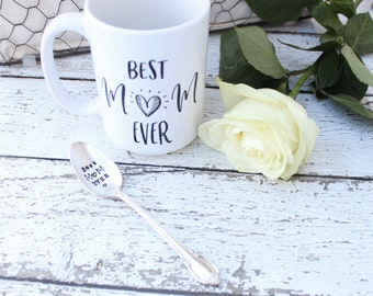 Best Mom Ever Spoon Mug Set - Handstamped Statement Cup Coffee Tea - Mother's Day Gift - Grandma Mama Nana - For Her - 11 . 15 oz Available