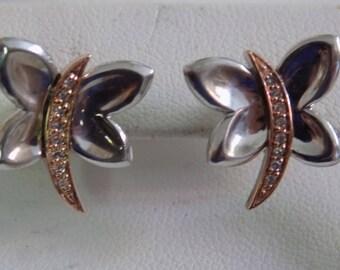 """Vintage earrings, 14K, sterling silver, butterfly earrings, stud earrings, signed """"N"""" earrings, flying insects"""