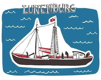 Lunenburg Landmarks Post Card Set of Four - Nova Scotia, Bluenose, Seaside, Souvenir