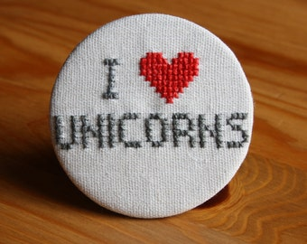 I Love Unicorns Cross Stitch Pin Badge