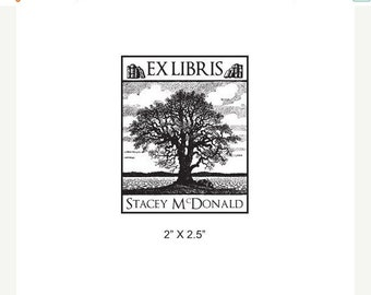 Mothers Day Sale Old Oak Tree Personalized Ex Libris Library Rubber Stamp I33