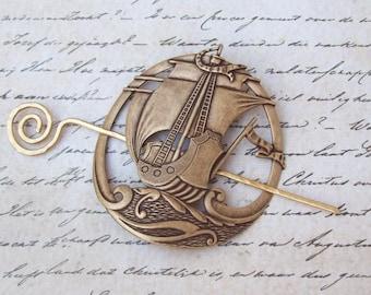 Nautical Shawl Pin, Ship Shawl Pin, brass shawl pin, sweater pin, oxidized, fall fashion, pirate, hair slide, coffee, scarf pin, boat