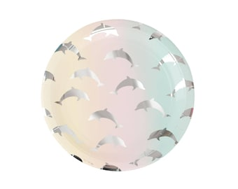 Dolphin Plates - Dolphin Tableware - Dolphin Baby Shower - Dolphin Party Supplies - Dolphin Birthday - Ocean Party - Beach Party - Ombre