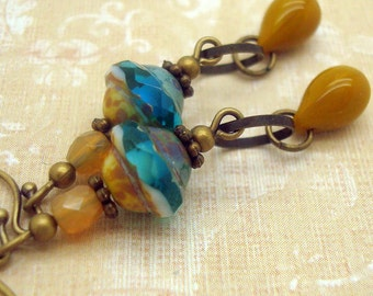 Sulphur Yellow Bohemian Earrings with and Aqua Blue and Toffee Colored Glass Beads