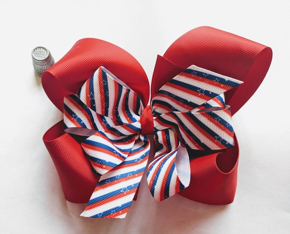 5 inch Fourth of July Red Boutique Stacked Hair Bow