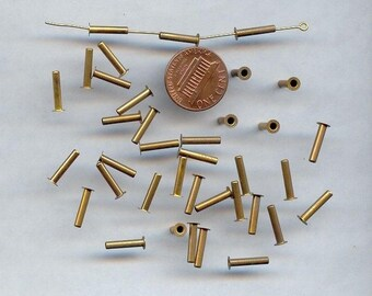 24 VINTAGE BRASS 12mm. EYELET rivet jewelry crafting findings 732a
