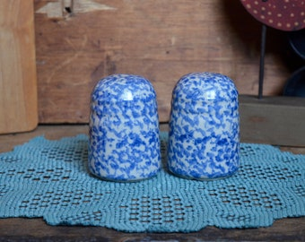 Vintage Blue Speckled Spatterware Stoneware Ceramic Salt & Pepper Shakers with Rubber Stoppers