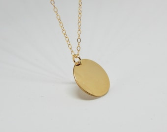 Gold coin necklace Coin necklace Delicate necklace Disc gold necklace Coin necklace Disc necklace Initial coin necklace 13 mm