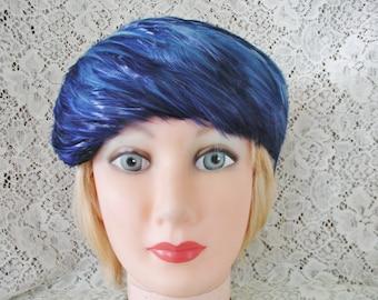Royal Blue Feather Hat.....Vintage Hackle Feather Hat