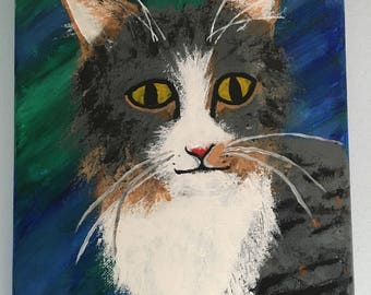 Acrylic Painting of a Tabby Cat