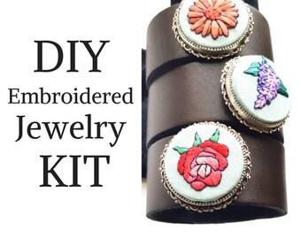 DIY Jewelry Kit - Hand Embroidery Leather Bracelet - Beginner Stitching Flower Kit - Fine Silver Jewelry Kit - Necklace, Bracelet or both