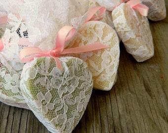 Wedding Favour / Heart Soap Favor / Wedding Shower Favors as seen in Wedding Chicks Blog / Rustic Wedding Favor / Qty 100