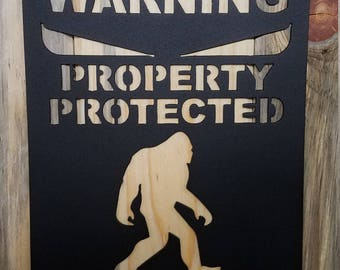 "Bigfoot ""Protected By Bigfoot"", Metal Wall Art, Sasquatch Sign"
