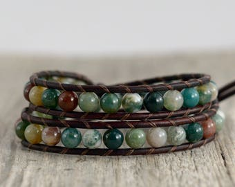 Nature inspired green jewelry. Bohemian chic beaded wrap bracelet. Hippie style