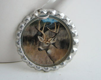 A Buck in the Fall Bottle Cap Keychain or Necklace made with Resin