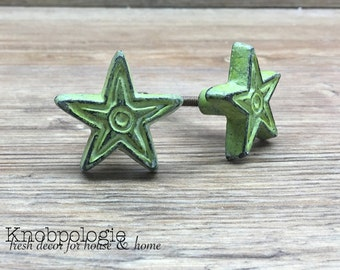 SET OF 2 Green Distressed Cast Iron Texas Star Knob -  Drawer Pull - Western Theme - Country Rustic Cabinet Decor