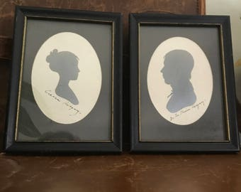 Pair of Vintage Hand Cut Silhouettes, Ridgeways