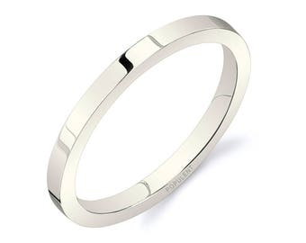 14k Vanilla Gold Band (2mm THIN) / PLAIN / Polished Flat + Comfort Fit / Men's Women's Wedding Ring Thin White Unplated Champagne