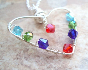 Forever in My Heart Pendant Necklace Mothers Grandmothers Family Birthstone Crystal Jewelry Sterling Handmade on Etsy Silver