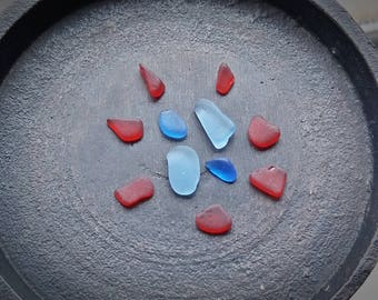 RED, Aquamarine, Cobalt BLUE Genuine Flawless Sea-Tumbled Sea Glass Jewelry Grade Loose (11)