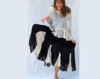 Crinkle Batiste, Black and White Maxi Dress, Dress and Blouse, Lagenlook, Resplendent rags, Pure Linen, Layered Dress with Linen Pullover