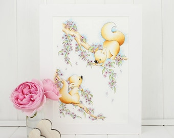 Squirrel Blossom Print, baby girl 1st birthday gift, Girl Nursery Wall Art, twin sister gift, Whimsical nursery Art, floral decor animal art