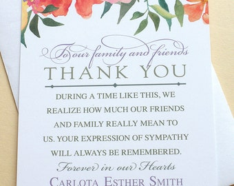 Funeral sympathy thank you cards with three big peach tulips thank you sympathy cards with colorful flowers personalized flat cards altavistaventures Gallery
