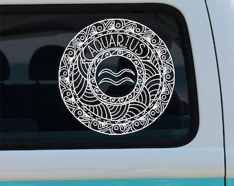 Aquarius Decal - Zodiac Sticker - Astrological Sign - Zodiac Decal - Aquarius - Aquarius Mandala - Mandala - Decal - Car Decal - Vinyl Decal