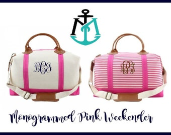 Monogrammed Weekender Bag, Personalized Overnight Bag, Monogrammed Travel Bag, Weekend Travel Bag, Large Tote Bag, Carry On Bag, MT01