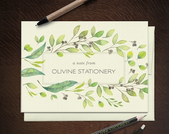 Personalized Stationery Leaf Frame, Greeting Note Cards - Set of 10