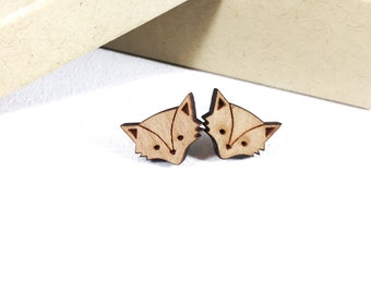 Animal Earrings Studs, Wood Earrings Studs, Fox Stud Earrings, Wood Fox Earrings, Novelty Earrings, Animal Stud Earrings, for Sensitive Ears