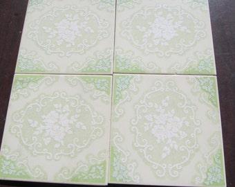 Pastel Green Floral Tiles 6x6 Tiles Home decor Ceramic Tiles Jadeite Green Home Decor Green Tiles Back splash Tiles Italian tiles Made Italy